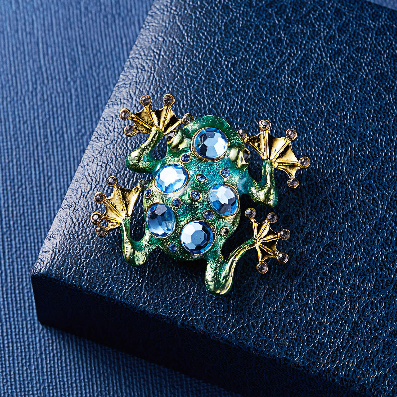 Ринху Кристалл Броши лягушка для женщин зеленый цвет брошь булавка в виде животного Роскошное винтажное ювелирное покрытие аксессуары бижутерия