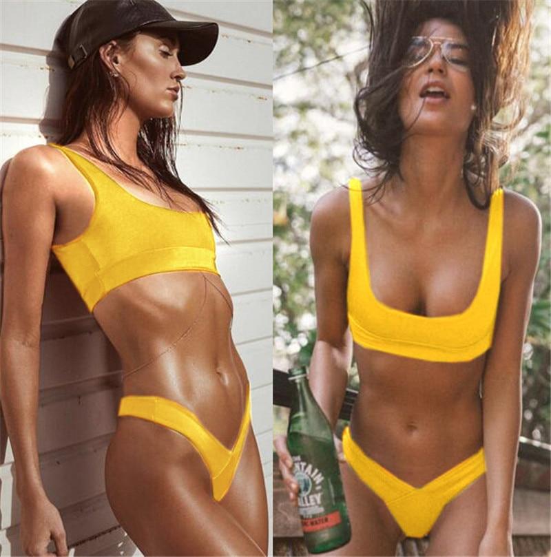 High Cut Swimwear Swim Cropped Top Bathing Suit Women Bikini Set 2017 Solid Halter Sport Bandage Vest Tankini Beachwear Biquini guess new silver white women s medium m cropped gathered halter top $49 007