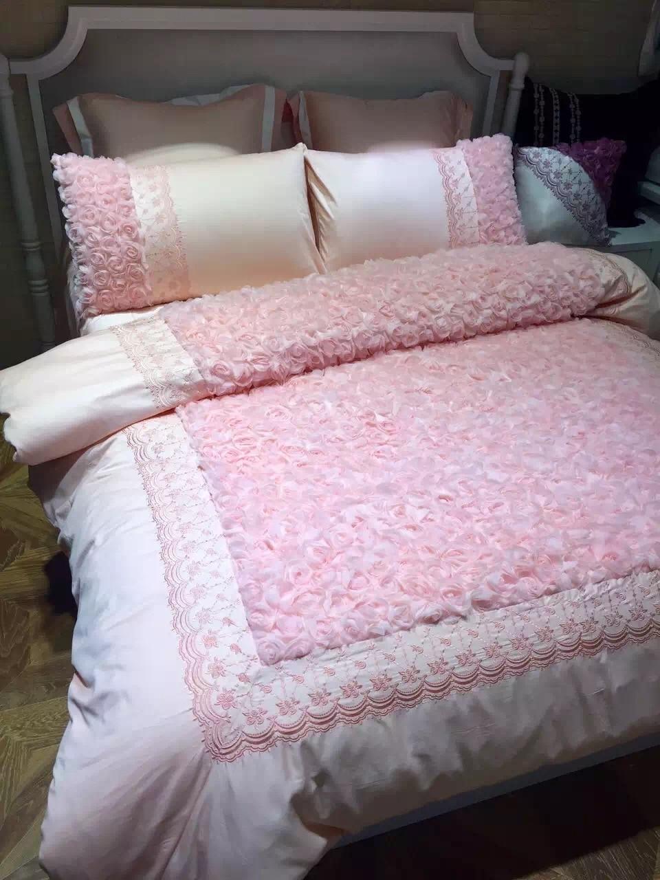 Wedding bed sheet set - 4pcs 100 Cotton Chinese Wedding Bedding Set King Size 220 240cm Duvet Cover Pink