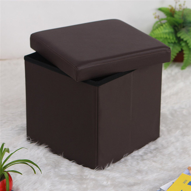 Practical PVC Leather Square Shape Footstool Storage Case