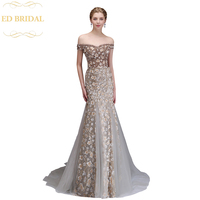 High end Evening Dress Luxury Banquet Lace Flower Beading Champagne Mermaid Long Prom Party Gown Robe De Soiree