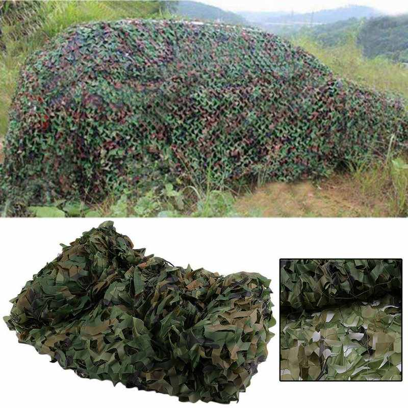Camouflage Net Car Covers For Outdoor Hunting Durable Polyester Fabric Army Military Sun Shelter with String Net Backing