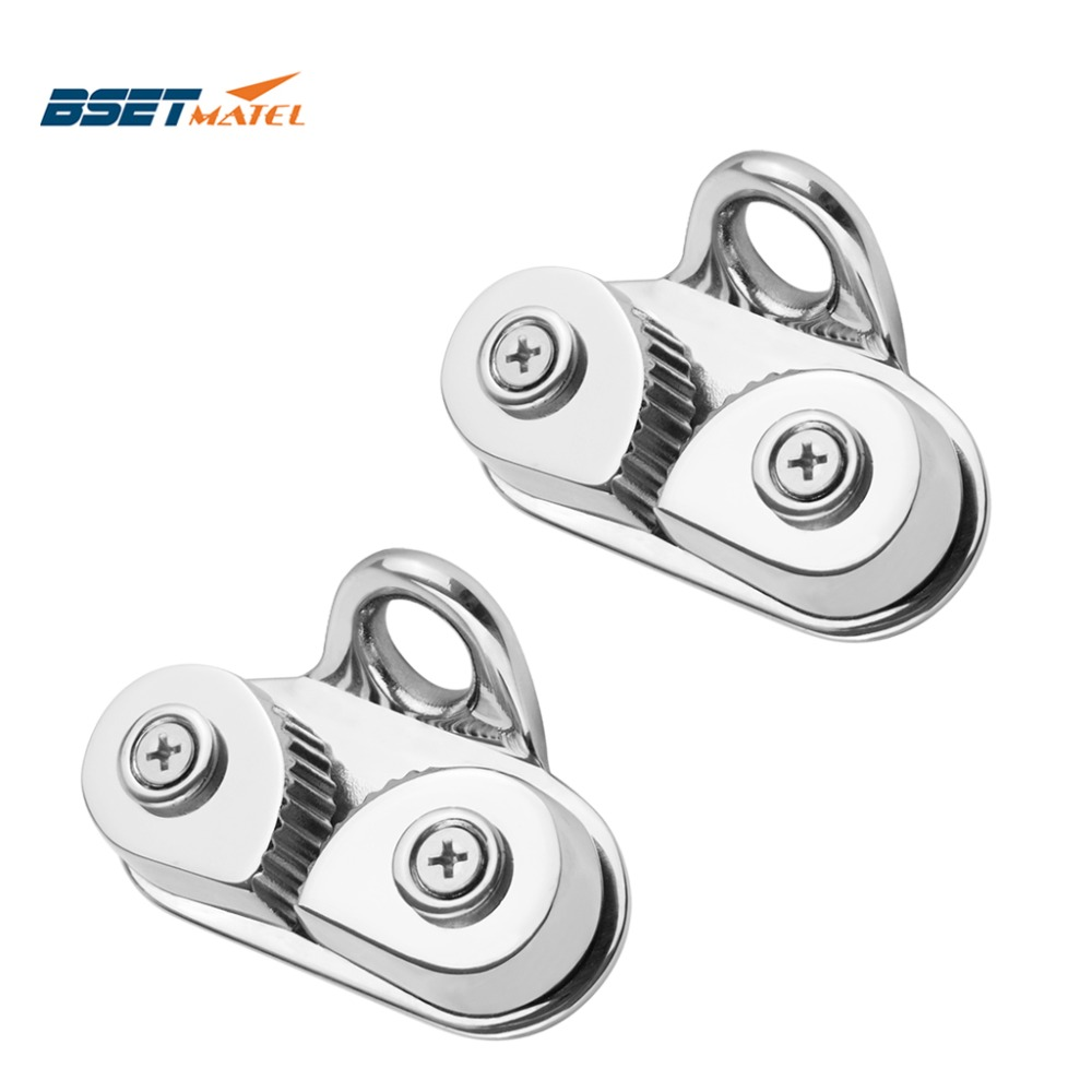 2PCS Stainless Steel 316 Cam Cleat with Leading Ring Boat Cam Cleats Matic Fairlead Marine Sailing