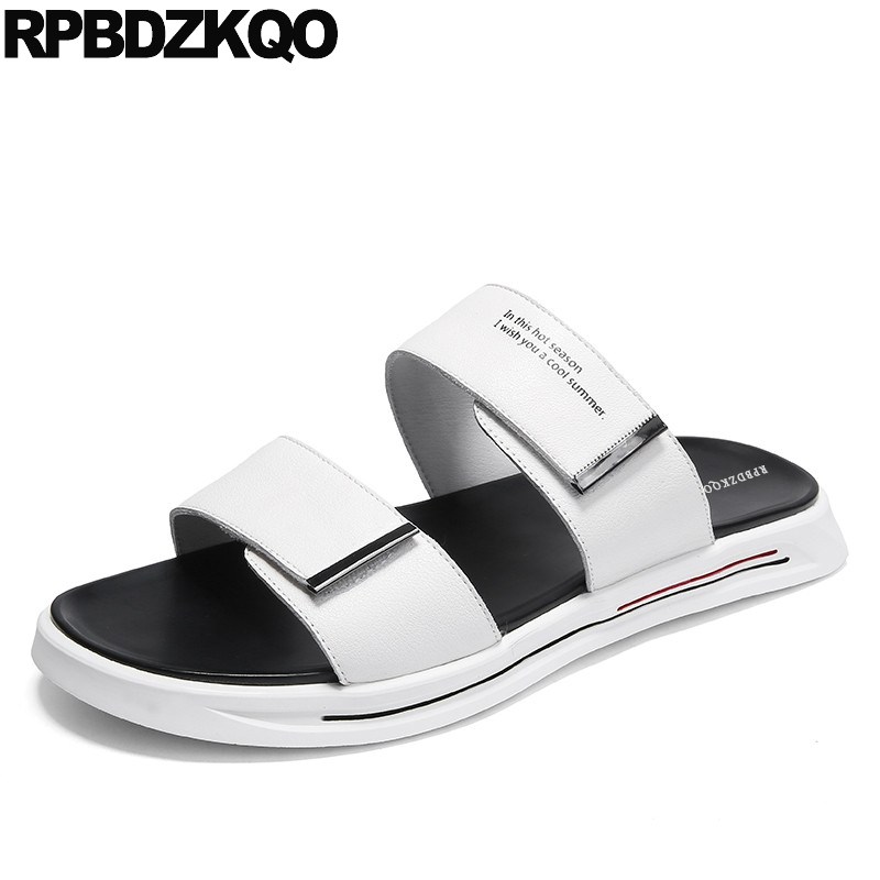 slides beach slip on genuine leather flat men sandals summer high quality slippers white famous brand designer shoes soft 2019