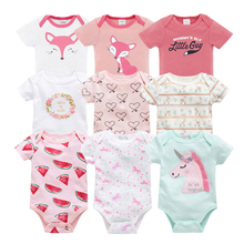 Kavkas Baby Bodysuits Short Sleeve Toddler Girls Boys Jumpsuit Set 5pcs Pack Summer Clothing Roupa De Bebes 3M 6M 9M