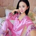 Mulheres Cetim Conjuntos De Pijama de Manga Comprida Pijamas Set-Duas peças Tamanho Grande Decote Em V Primavera Outono Floral Rendas Respirável Pijama XXL
