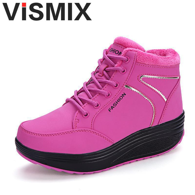 VISMIX 2017 Women's Snow Boots Winter Female Plus Velvet Snow Platform Boots Women Thermal Cotton-padded Shoes Flat Ankle Boots platform bowkont flocking snow boots page 3