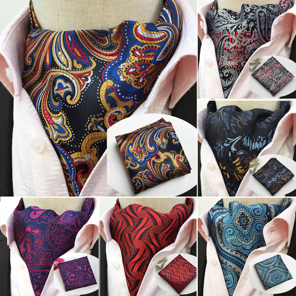 LJT13 1-17 Luxury Men's Ascot Set Vintage Paisley Floral Jacquard Silk Necktie Cravat Vintage Tie Handkerchief Pocket Square Set
