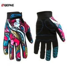 Qepae luvas esportivas antiderrapantes, luvas de dedos completos para mulheres/homens, motociclismo, esqui, ciclismo motocicleta para moto