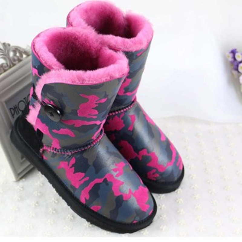 ФОТО HOT Classic waterproof Nature fur Wool real sheepskin camouflage leather snow boots for women Short winter shoes High Quality