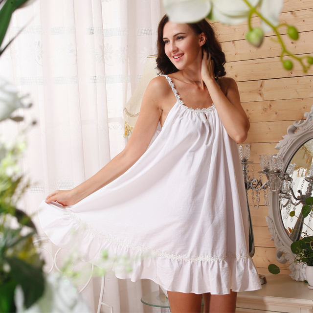 6e4635e25a Cotton Nightgown Princess Women US Size White Cotton Sleeveless Nightgown  Summer Sunflower Ruffle Sleep Dress