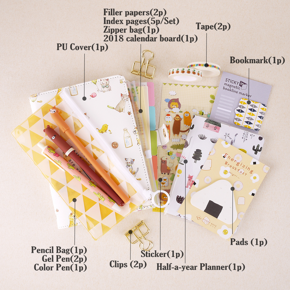 Cute Cat A6 Loose-leaf Hardcover 6 Holes Filler Papers Kawaii Notebook Set Student Schedule DIY Washi Tape Planner Suit Supply