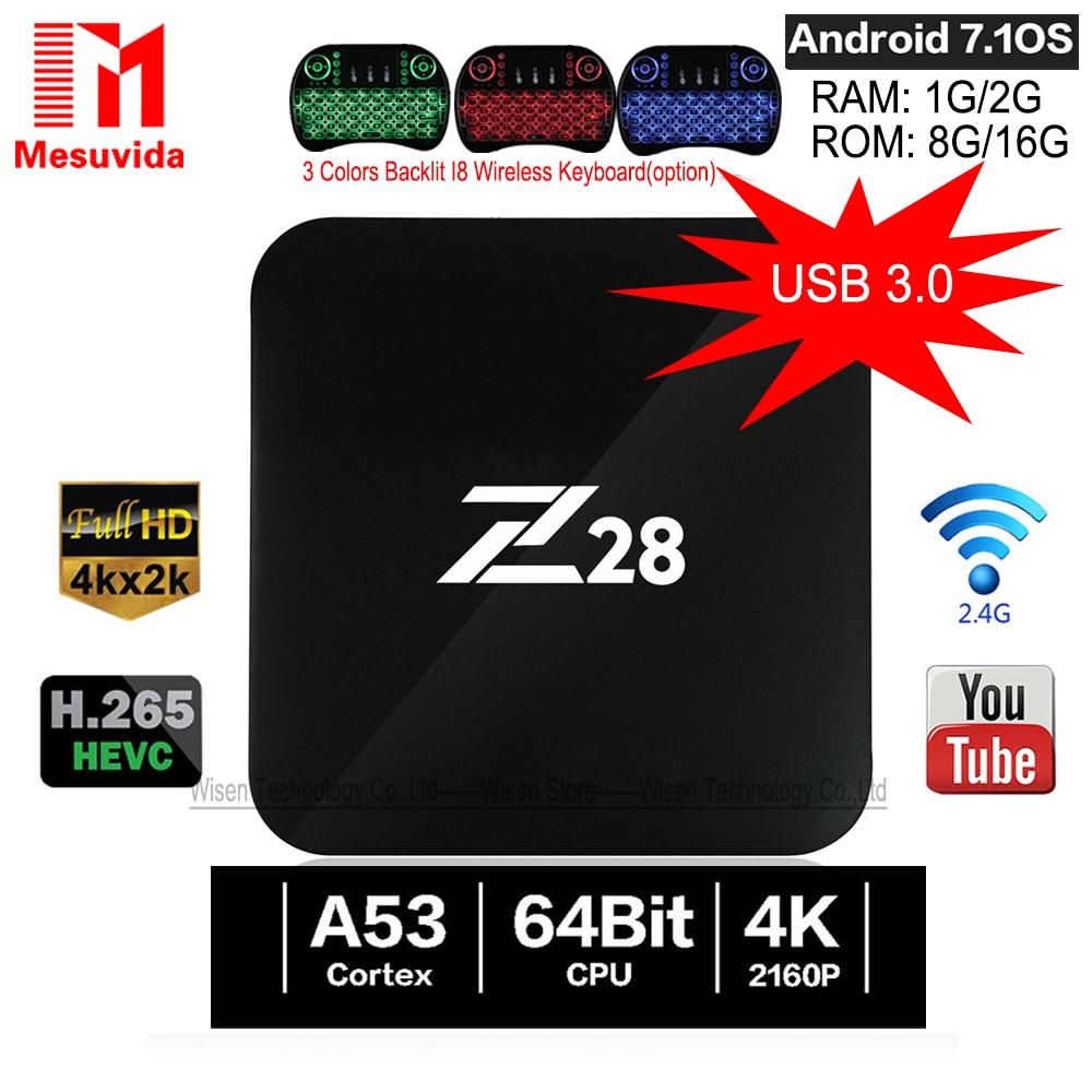 Mesuvida Z28 TV Box Android 7.1 RK3328 64Bit Quad Core 1G/8G 2G/16G Set Top Box Supporto 4 K x 2 K USB3.0 2.4 GHz WiFi Media Player