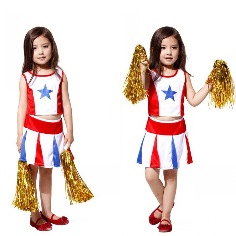 Fantasia cheering squad Cheerleaders Cosplay Christmas Fancy dress Kids Girls Disfraces Halloween Childrens Day Costumes