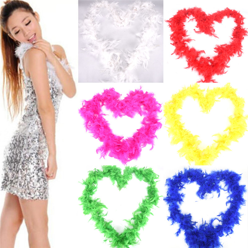 1Pc 2m Colorful Vouge Long Fluffy Feather Boa for 2018 Party Wedding Dress up Costume Decor For Fancy Dress Party
