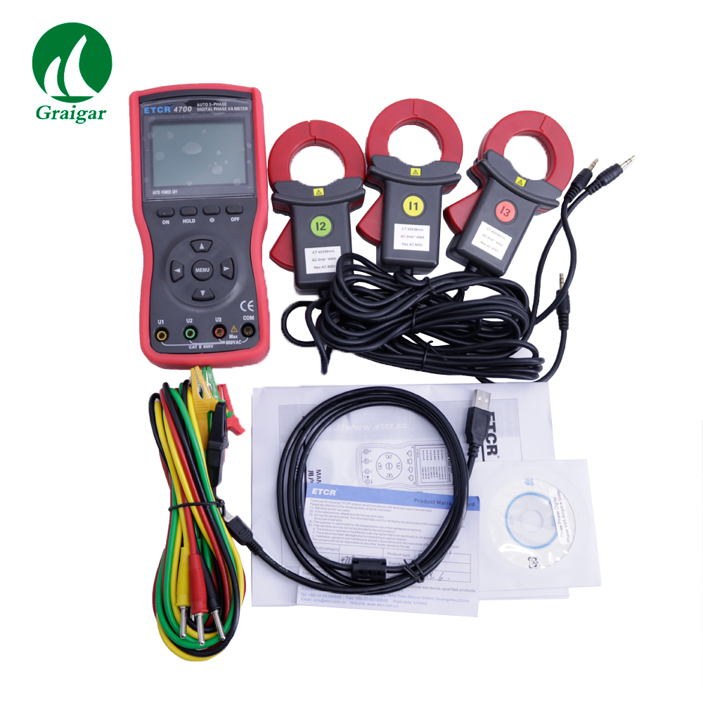 ETCR4700 Three Phase Digital Phase Volt Ampere Clamp Meter Measure AC Voltage and AC Current