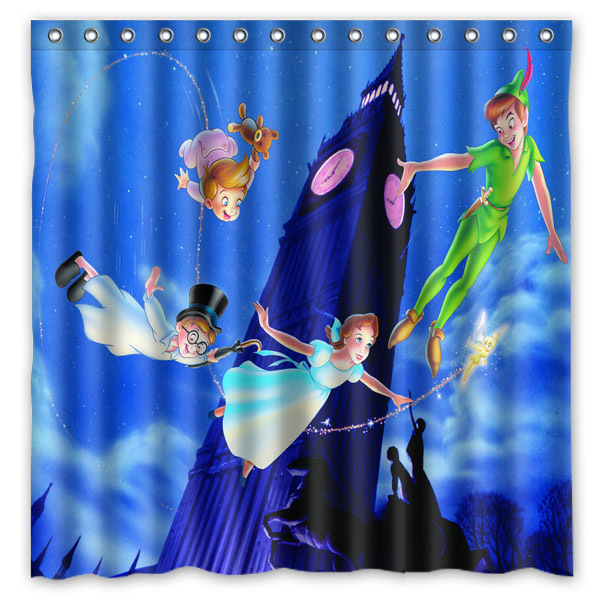 Peter Pan Customized Bath Shower Curtain Waterproof Mildewproof Polyester Fabric Bathroom Curtains With 12 Hooks 180