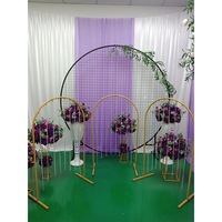 Wedding home party stage backdrop arch props n shaped metal wrought iron road lead artificial flowers stand decoration ornaments