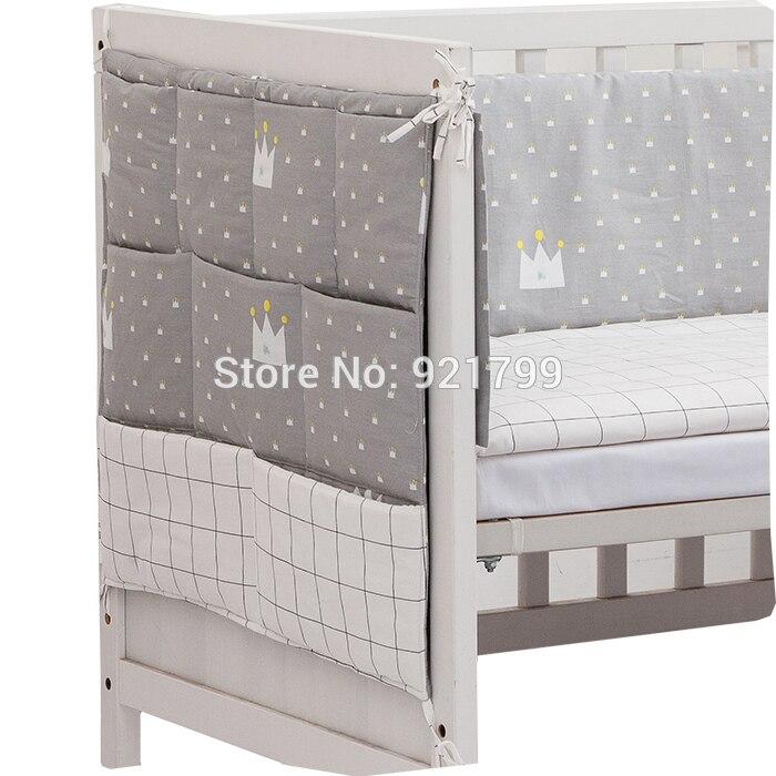 Cotton Grey Baby Bed Hanging Storage Bag Newborn Crib Diaper Organizer Toy Diaper Pocket For Baby Bedding Set Nursery 50*60CM