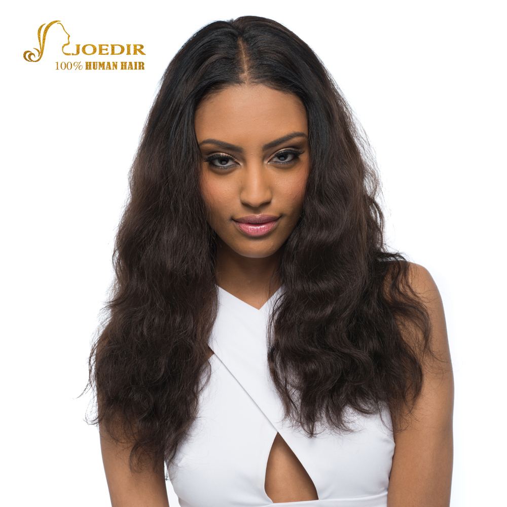 Joedir Human Hair Wigs Nature Wave Wavy Brazilian Remy Hair Wig Color Brown 100% Cheap Wigs For Black Women Free Shipping