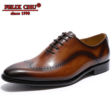 Luxury Genuine Leather Men Dress Shoes Lace-up Brown Black Brogue Business Office Wedding For Oxford