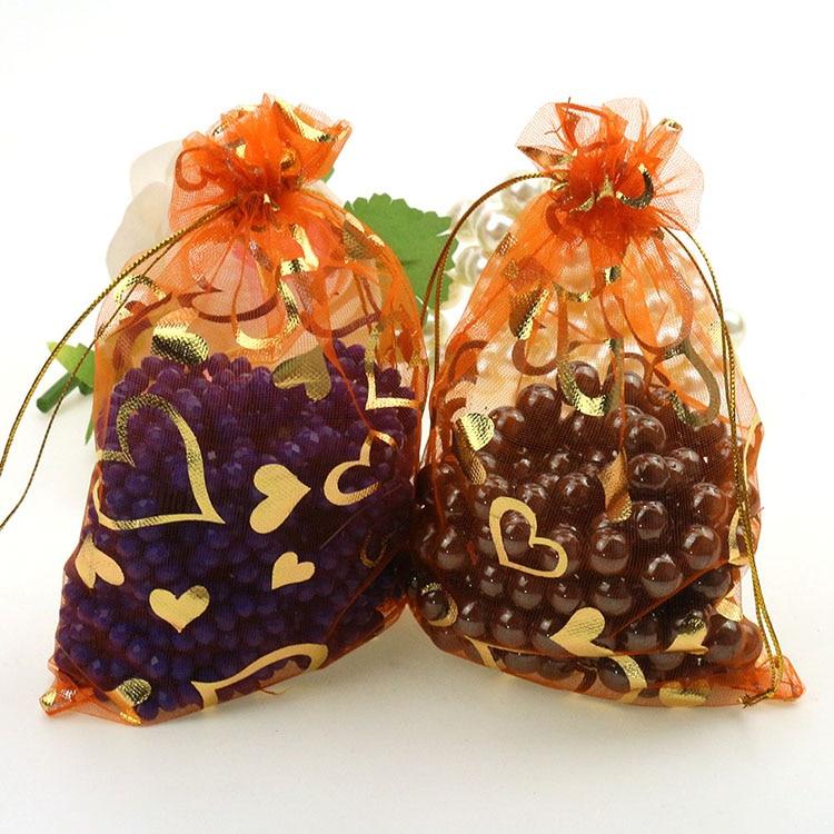 Fashion Desgin Wholesale Lot 100pcs 13x18cm Orange Wedding Gift Jewelry Bag Pouches Bag 001 ...