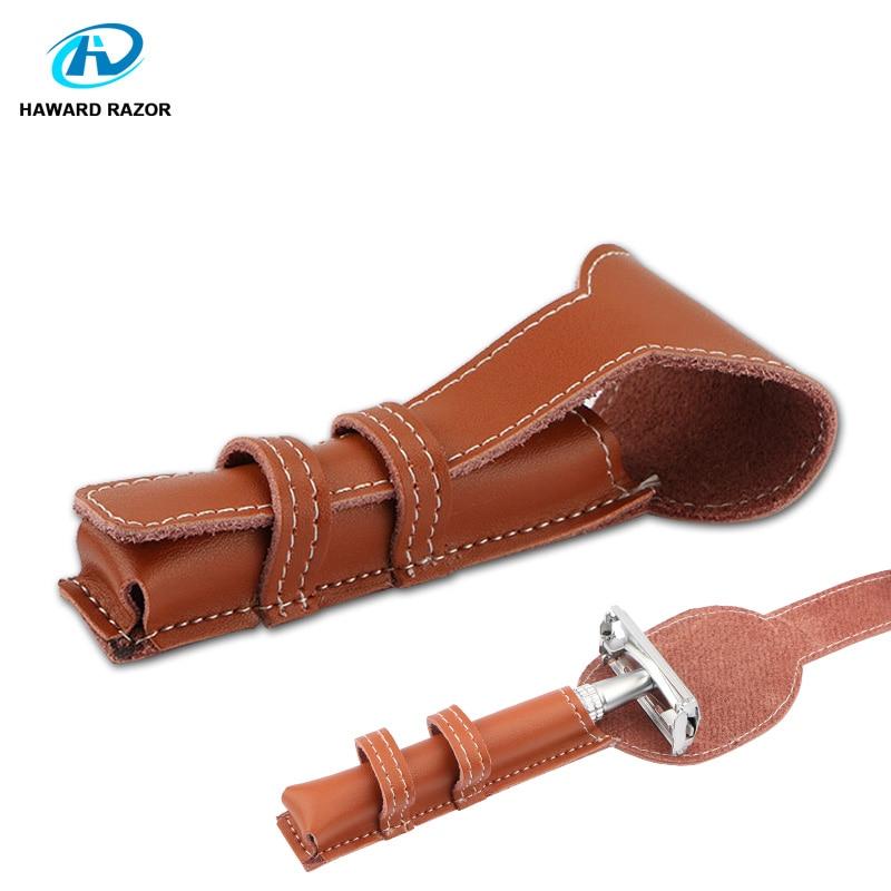 HAWARD Razor Genuine Leather Double Edge Safety Razor Protective Case/Shaving Travel Pouch