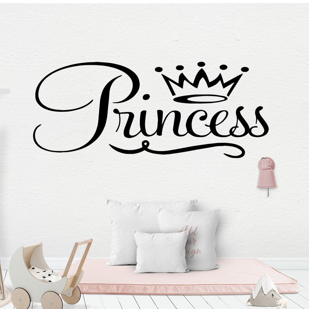 Cartoon crown Princess Vinyl Wall Sticker Home Decor Stikers For Kids Rooms Decoration Murals