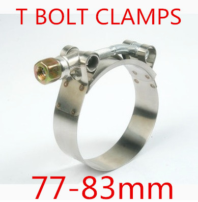 6pcs/lot 77-83mm T BOLT CLAMPS Turbo Pipe Hose Coupler Stainless Steel