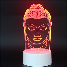 LED 3D Buddha Head Religion NightLight Acrylic Night Lamp Light Luminary With Touch And Remote Lamps Lights Kids Decoration MyLp