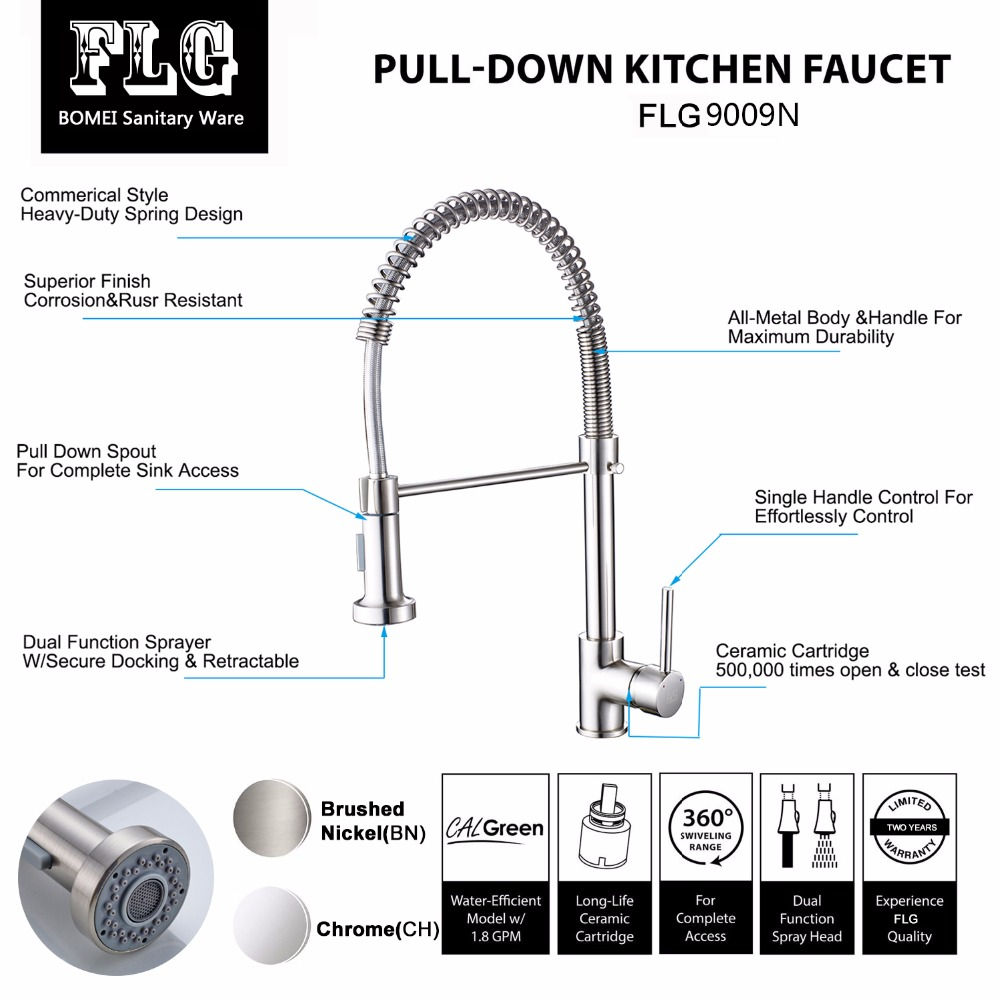 Купить с кэшбэком FLG Spring Style Kitchen Faucet Brushed Nickel Sink Faucet Pull Out Torneira All Around Swivel 2-Function Water Outlet Mixer Tap