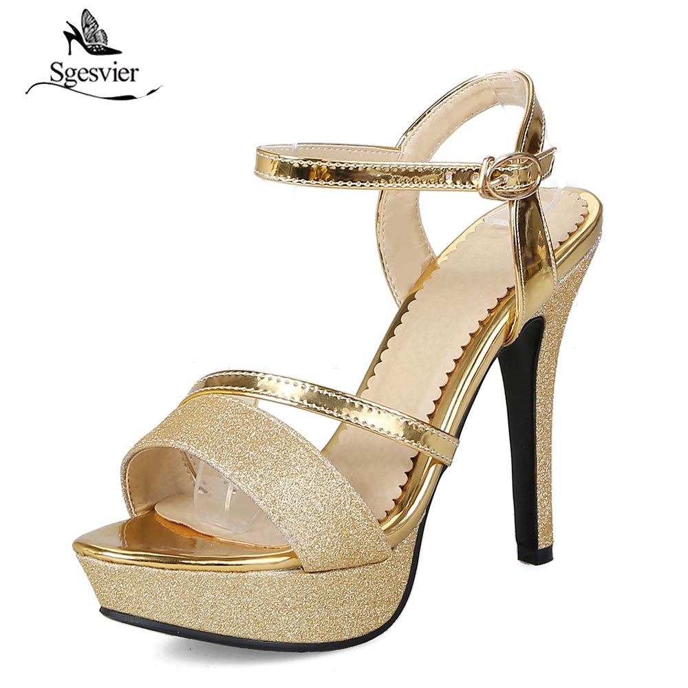 Sgesvier Summer Open Toe Platform Women Shoes 2018 Ankle Strap Fashion Thick High Heel Sandals Gold Sliver Party Shoes B133 summer hot sale women fashion open toe bling bling gold sliver strap high heel sandals ankle wrap gladiator sandals dress shoes