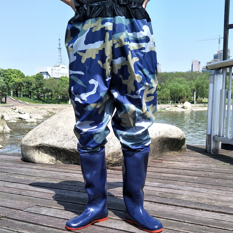 High-Jump 0.75mm Camouflage Tactical Fishing Waders Pants Waterproof PVC Breathable Waist Mesh Soft Boot Sole Waders for Fishing