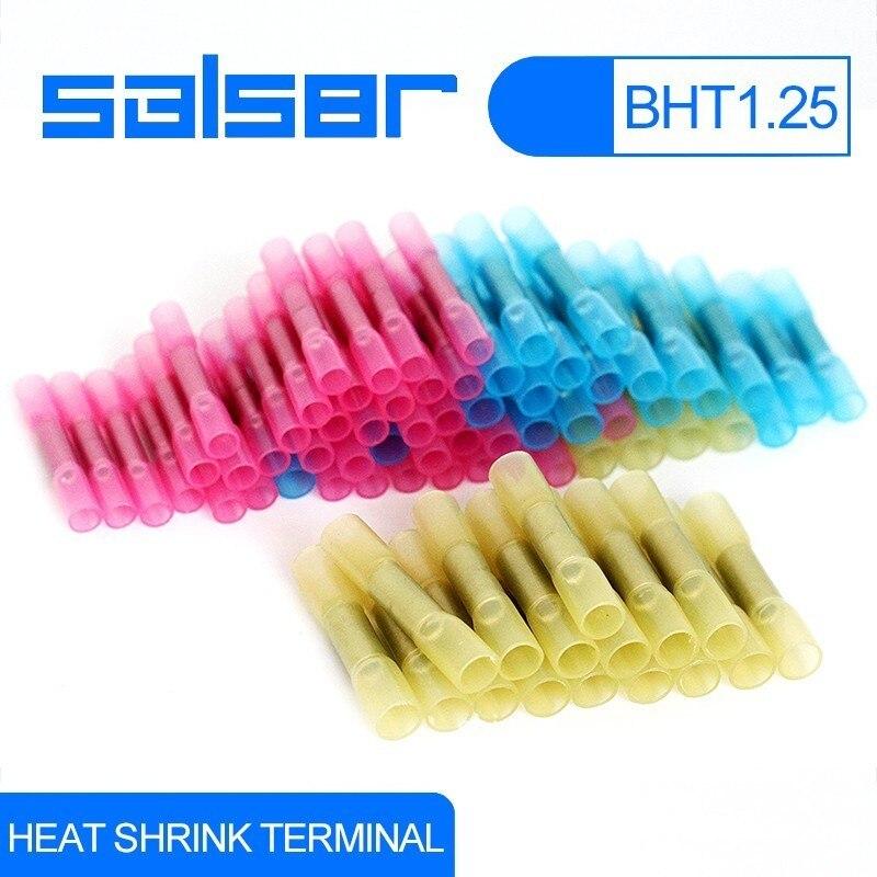100 Pcs BHT1.25 Waterproof Heat Shrink Intermediate Wire Connector 22-18 AWG