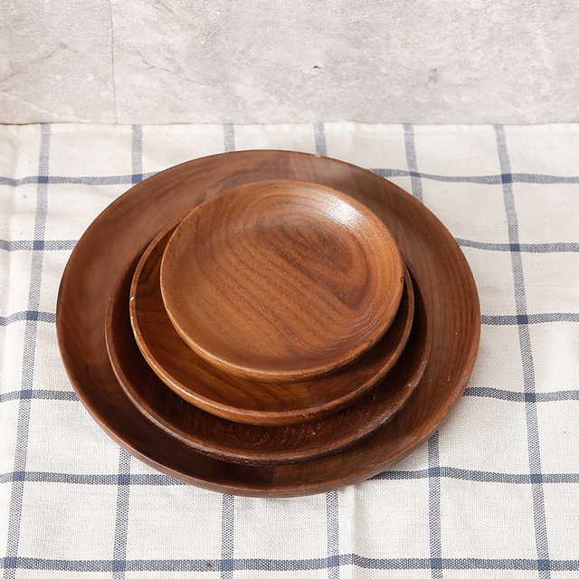 Hippo Home Creative Wood Dinner Plate Fruit Dessert Tray Round Food Storage Dish Natural Beech Black & Hippo Home Creative Wood Dinner Plate Fruit Dessert Tray Round Food ...