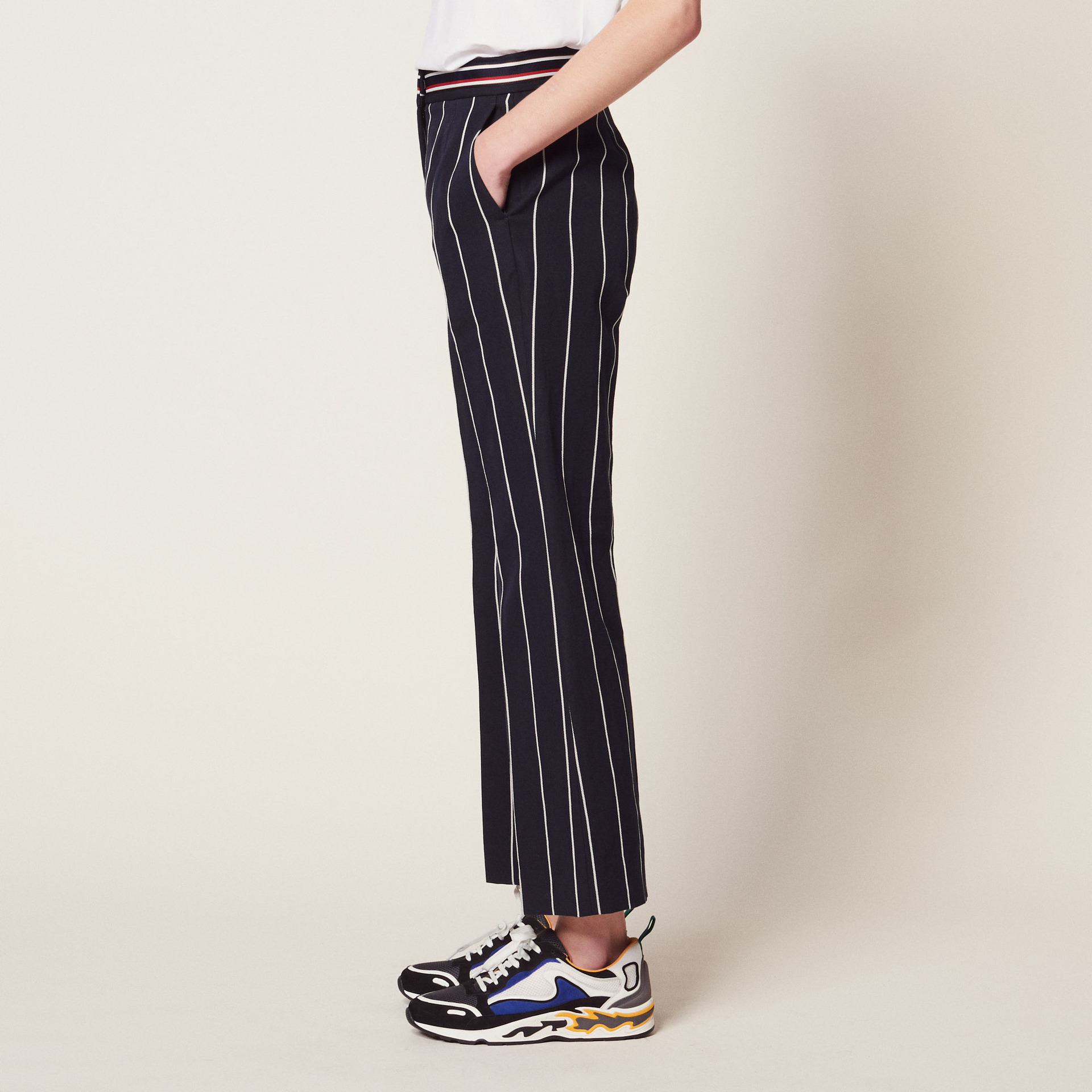 women pants 2019 spring and summer new striped casual pants straight ninth pants