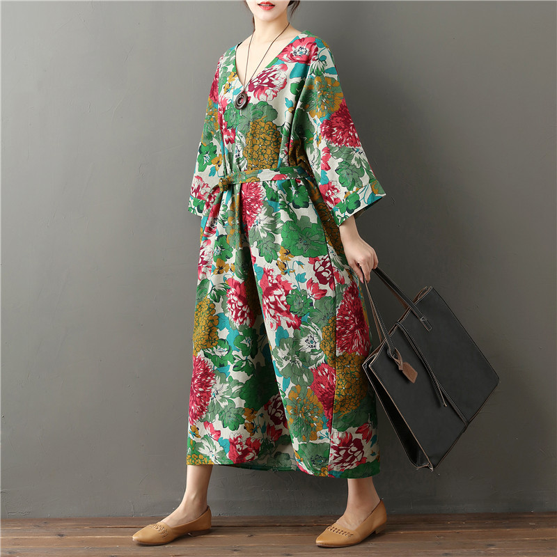 Johnature 2019 New Style Casual v neck Print Floral Cotton Plus Size Dress Women Loose Fashion Spring Summer Ladies Dress-in Dresses from Women's Clothing    1