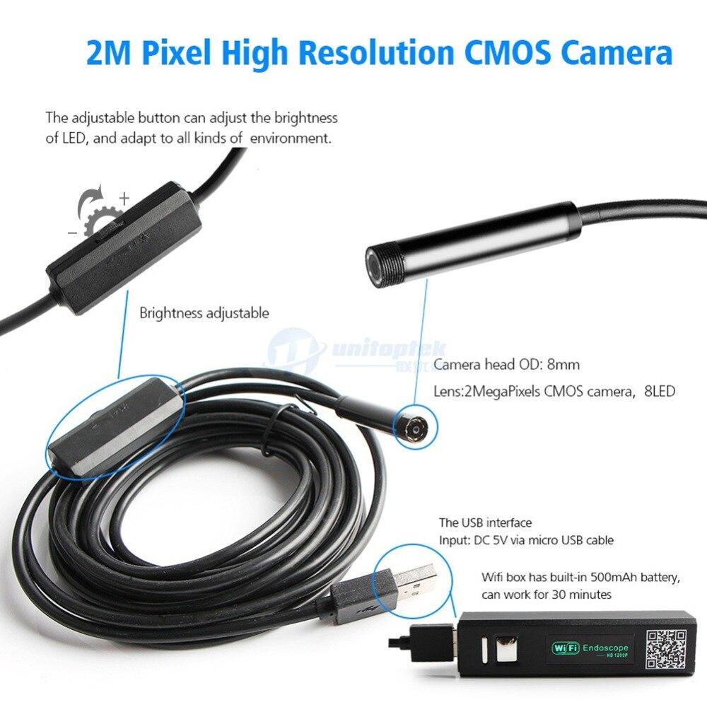 Жесткий провод 2MP WIFI эндоскопа камера HD 1200P 1-5 м IP68 водонепроницаемый змеиная трубка осмотр беспроводной бороскоп камера Android IOS