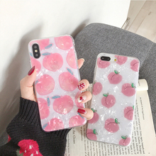 Pink Peach Shell Case For iPhone XS XR XS Max X 7 Soft TPU Silicone Phone Back Cover Gift For iPhone 6 6S 8 Plus Case Capa Coque flower printed shell finger ring stand phone case for iphone x xr xs max soft tpu cover for iphone 7 8 plus 6 6s gli case coque