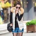 Cuello de piel de otoño invierno de Corea modelos femeninos salvaje chaleco de algodón chaleco abajo chaleco chaleco de algodón con capucha mujeres al por mayor Y1021-52D