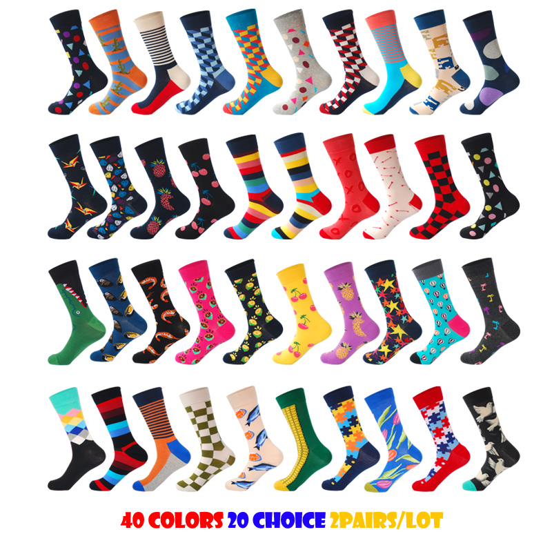 2018 Brand Mens Happy Socks Quality 40Colors 20Choices US9-13 Plaid Diamond Animal Cherry Funny Combed Cotton Socks 2Pairs/Lot