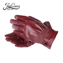 Natural  italian  imported  lamb leather gloves women resilient wristband autumn winter  gloves warm touch screen Gloves present