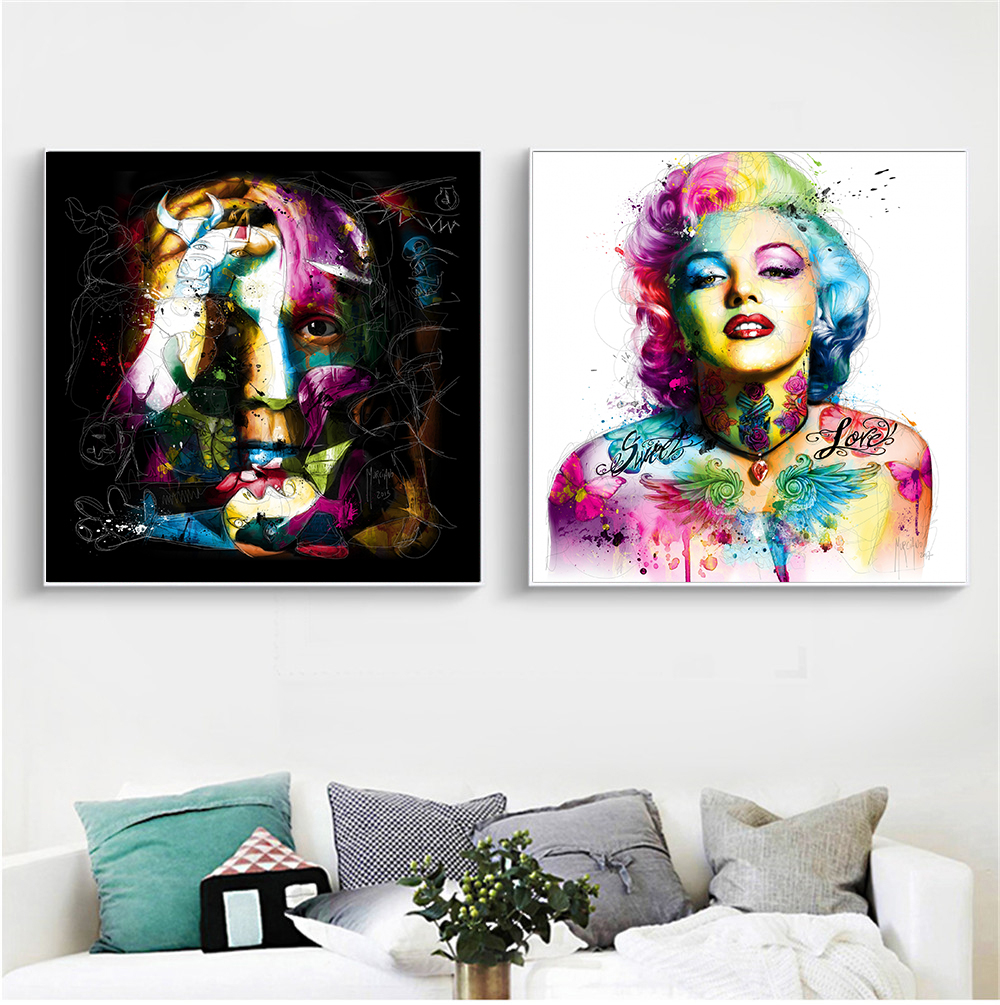 Butterfly Lips Abstract Oil Painting Harley Quinn Poster Canvas Wall Art Picture Picasso Marilyn Monroe By Murciano Home Decor