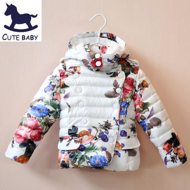 Novo 2015 Meninas outerwear Jaqueta de Inverno casaco Grosso das Crianças Impresso jaquetas para os bebés das crianças Revestimento roupa para 2-10Y