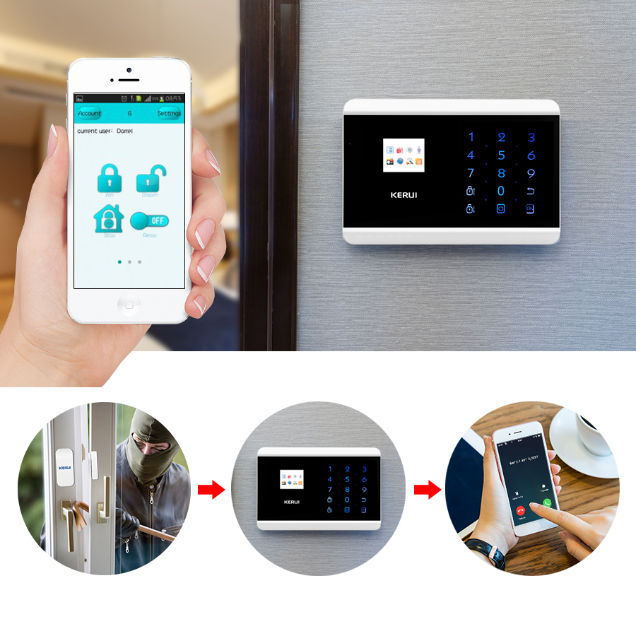 Kerui 8218g Home Alarm Security System 1.7 Inch Tft Touch Screen Gsm Pstn With Motion Smoke Sensor Detector And Wireless Siren Security Alarm
