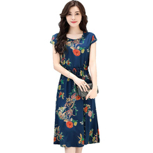 Middle Aged Women cotton Dress 2018 Summer New Short Sleeved Print Dress Fashion O Neck Loose Plus Size XL- 6XL long Dress LY883