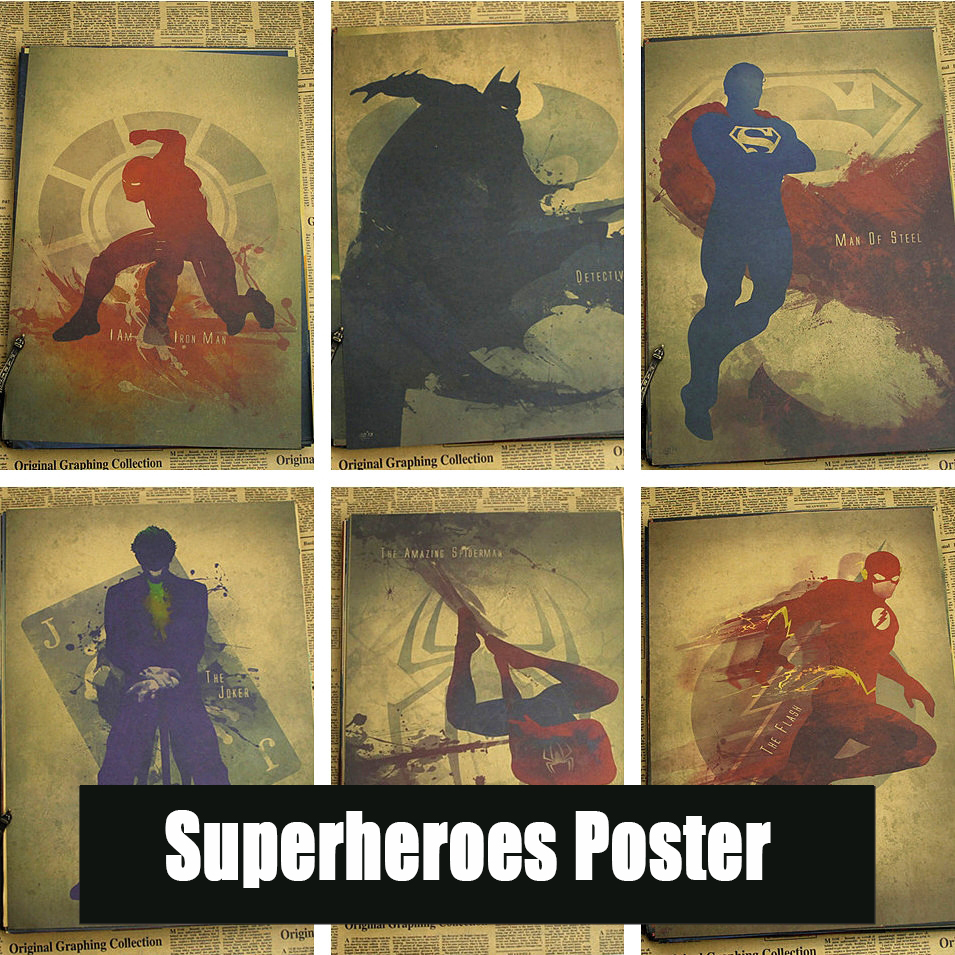 superman wall sticker reviews online shopping superman wall superheroes poster decorative painting ink catwoman wonder woman spider man flash superman
