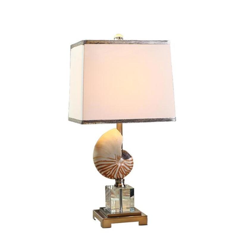 Evropa Moderní pastorační skořápka K9 Křišťálová tkanina LED E27 Stolní lampa pro svatební výzdobu Obývací pokoj Ložnice Lampa 1416
