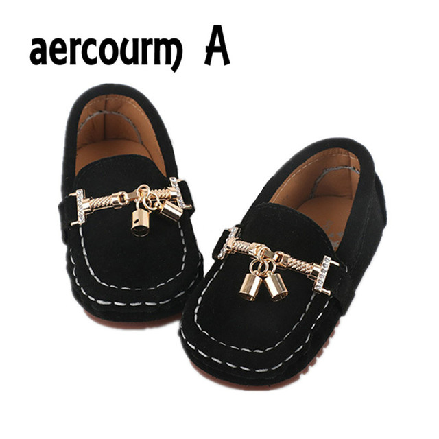 Aercourm A 2017 Spring Children Genuine Leather Shoes Footwear Infant Girls Shoes Metal Button Kids Sneakers Boy Baby Flat Shoes