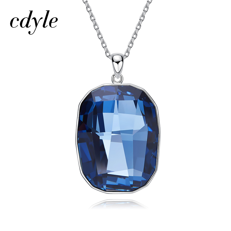 Cdyle Crystals from Swarovski Necklaces Women Pendants S925 Sterling Silver Fashion Jewelry Blue Crystals Necklaces Bijoux Chic цены